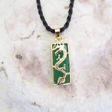 Small Oblong GP & Dyed GREEN JADE Dragon Pendant & Black Twisted Cord Necklace
