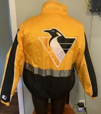 Pittsburgh Penguins Jacket Coat Starter Mens Small Vintage 90s Full Zip NHL