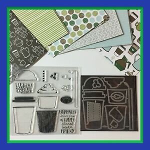 "Unbranded  ""COFFEE Cafe' "" Stamp Set & Matching Dies & COFFEE BREAK DSP **NEW**"