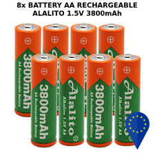 8x BATTERY ALALITO AA 3800mAh 1.5V BATTERIA RECHARGEABLE ALKALINE STILO RAM