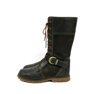 Timberland brown leather Bethel buckle boots size 6.5 UK