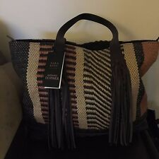 ZARA FRINGED FABRIC LEATHER SHOPPER BAG NWT