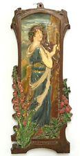 Elisabeth Sonrel & Gilardoni Frères rare bas relief terre cuite art nouveau 54cm
