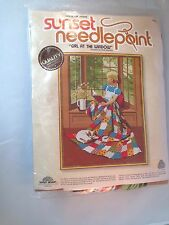 "New Sunset Needlepoint Kit Girl At The Window #6695 18"" x 22"" Vintage 1979 NIP"