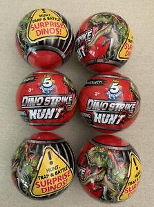 6 New Zuru 5 Surprise Dino Strike Hunt Red Ball Dinosaur Birthday Party Toy