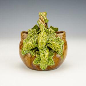 Rye Studio Pottery - Arts & Crafts Hops Decorated Basket Vase
