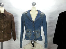 J &Co Fitted Military Style Jean Denim Jacket Junior Size M Studded Cross Design
