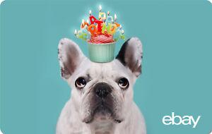 eBay Digital Gift card - Happy Birthday Dog -  $25 $50 $100 or $200 - Email