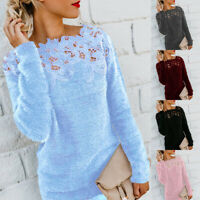 UK Womens Warm Solid Sweater Tops Knitwear Ladies Lace Patchwork Jumper Pullover