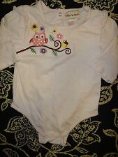GIRLS SIZE 24 MONTHS PINK TOFFEE APPLE LONG SLEEVE SNAP BOTTOM ONE PIECE OWL @@!