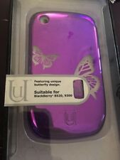 Aegis Uunique Metallic purple with butterfly design Case for BlackBerry 8520