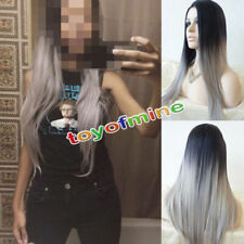 New Straight Black Natural Hair Mix Grey Women's Long Full Wig Cospaly Wigs