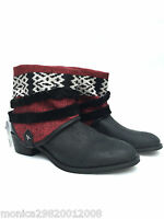 ZARA LEATHER TRIBAL ETHNIC ANKLE BOOTS SIZE UK6/EUR39/US8