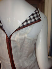 ROGAN Cotton CUPRO Poly GINGHAM CHECK Lining UTILITY Zip SHEATH MINI Dress S
