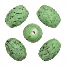 Sea Wave Design Green Oval Handmade Glass Beads 18x13mm Pack of 5 (A52/4)