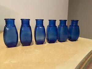 6 Antique Cobalt POTBELLY UNITED DRUG CO. Blue Bottles, Apothecary Med, Vintage