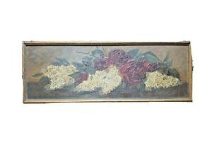 Floral yard long yardlong oil painting board folk art roses hydrangea 1910