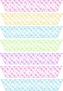 63/126 Edible Bunting Flags Icing Sheets Cake Toppers Baby Shower Pastel Gingham