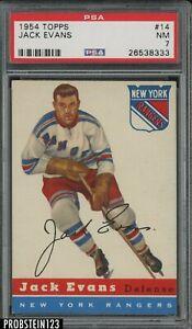 1954 Topps Hockey #14 Jack Evans New York Rangers PSA 7 NM