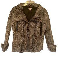 Chicos Womens Blazer Jacket Brown Animal Print Fall Snake Metallic M/8-10 NWOT