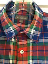 L L Bean Signature Men's S Castine Plaid Cotton Shirt Flap Pockets Slim Fit EUC