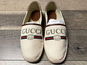 Gucci Logo Canvas Espadrilles Brown Men's US 9.5/UK 9 New BNWB Alejandro