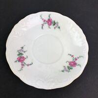 Royal Kent China Bavarian Rose Chine Made Poland Saucer Plate Floral Gold Trim