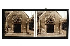 Montfort-l'Amaury église France Photo C5 stereo Plaque de verre Vintage 1927