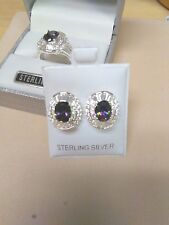 SIMULATED ALEXANDRITE CUBIC ZIRCONIA STERLING SILVER  RING & EARRING SET