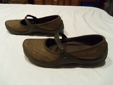 Crocs Brown Suede Mary Jane Strap Flats Slip On Casual Walking Shoes Women's 9