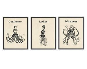 Funny Bathroom Signs Quirky Surreal Art Lovecraft Octopus Collage Prints