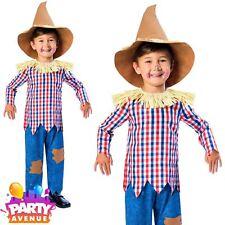 Boys Scarecrow Costume Fairytale Fancy Dress Kids Book Day Wizard of Oz 9-10yrs