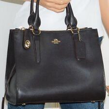 NWT Large Coach Crosby Dark Brown Leather Satchel Carryall Shoulder Bag 59182