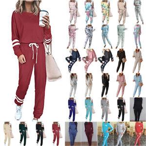 2PCS Womens Tracksuits Ladies Top Pants Set Loungewear Sportswear Casual Pyjamas