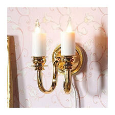 Dolls House 7248 Wall Lamp Golden / weiß 2 Candles 12 Volt for Doll House NEW! #