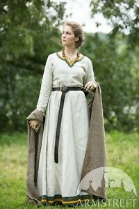 """Viking Dress """"Ingrid the Hearthkeeper"""" for LARP, SIZE 8, natural color"""
