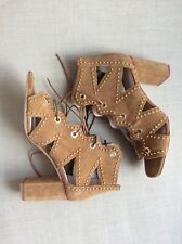 ZARA Tan Brown Real Suede Lace Up Heeled Sandals, SIZE UK 4 EUR 37 New