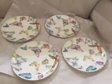 4 Williams Sonoma Floral Meadow Butterfly Salad Dessert Plates out Of Box