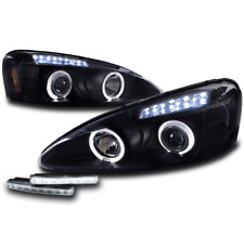 2004-2008 PONTIAC GRAND PRIX HALO LED BLACK PROJECTOR HEADLIGHTS LAMP+BUMPER DRL