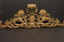 "Antique Oak Lion Carved Crest Architectural Fragment Gold Paint 28"" Scroll Hood"