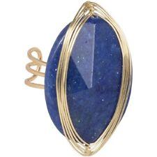 NEW Royal Blue Dyed Quartzite Semiprecious Stone Boho Statement Cocktail Ring
