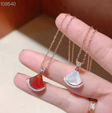 "925 Sterling Silver 16-17"" Necklace Shell Gemstone Onyx CZ Fan Dress Pendant F34"