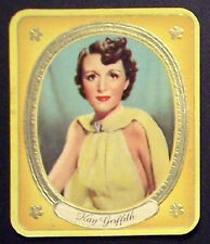 Kay Griffith 1937 Garbaty Passion Film Favorites Embossed Cigarette Card #49