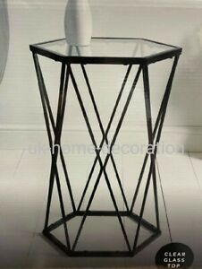 NEW Coffee Table Sofa Side Table With Clear Glass Top Living Room Furniture