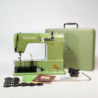 Gorgeous 1955 ELNA Green Supermatic Sewing Machine W/ Case and Accessories