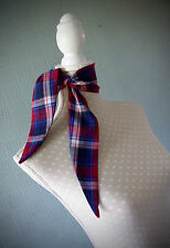 Red white and blue tartan scarf, retro rockabilly scarf, tartan bandana headband