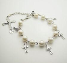 Bracelet perles et croix première communion Neuf
