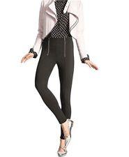 New Hue Women's Zippered Ponte Leggings Black Pull-On Full Length Extra Small