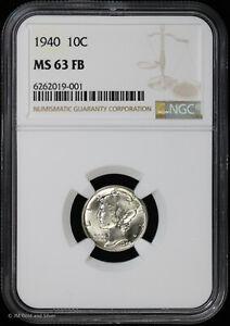 1940 10c Silver Mercury Dime NGC MS 63 FB | Uncirculated BU Full Bands