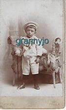 1870 Original Carte de Visite C D V, Little Boy with walking stick Phila Photo